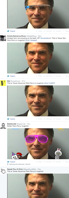 Rick Perry mugshot on Twitter